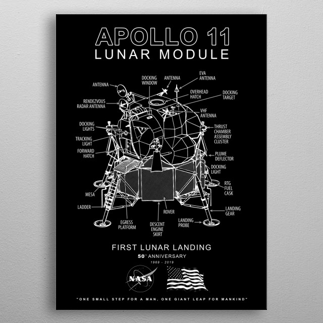 Apollo 11 Lunar Module-50th Anniversary 1969-2019,Lunar Landing,Moon,Space metal poster