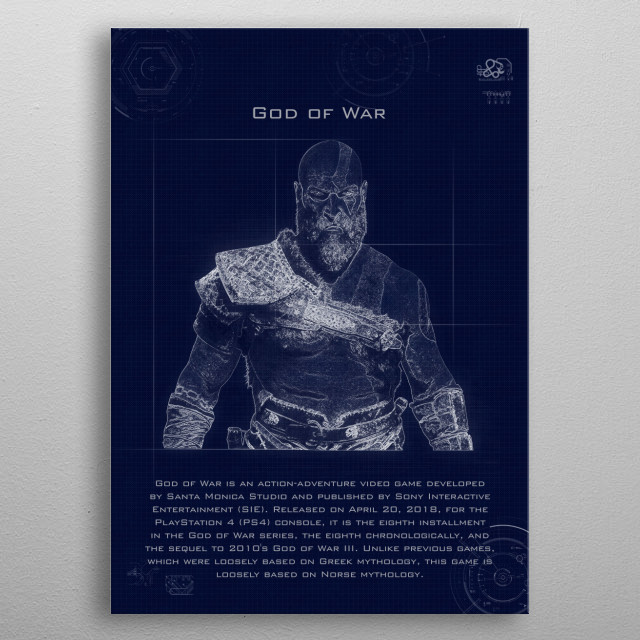 god of war blueprint metal poster
