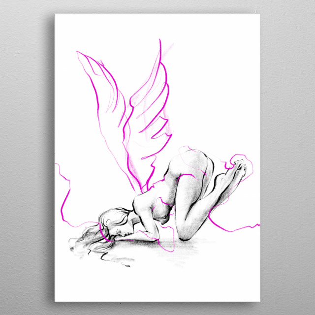 Erotic art, made from my original black and white line drawing Sexy Angel.  For those who prefer mature content, sexy art, erotic drawing metal poster
