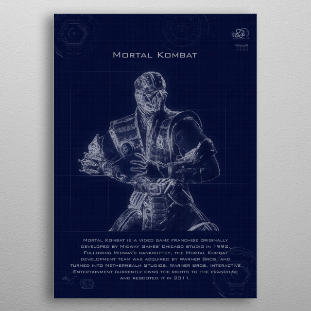 mortal kombat blueprint metal poster