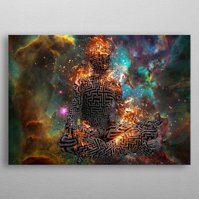 Surrealism. Burning figure of man with maze pattern in lotus pose. Vivid universe on background metal poster