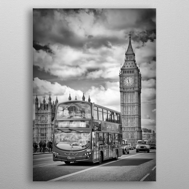 A typical street scene from London with Elizabeth Tower. Classical monochrome impression from Westminster. metal poster