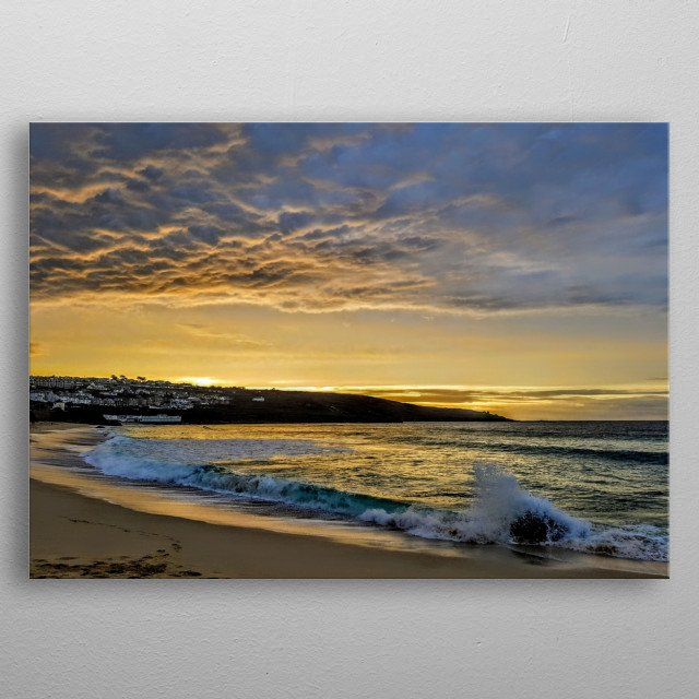 A view out to sea at St Ives, Cornwall, England at sunset metal poster