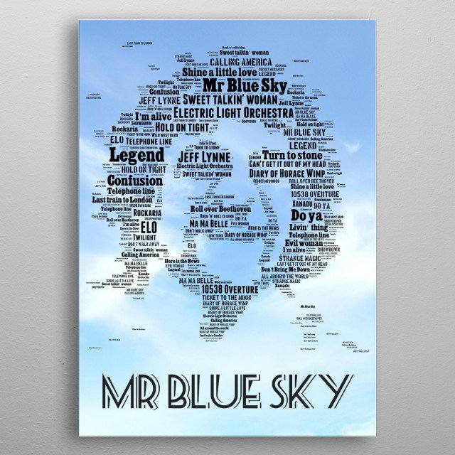 A tribute to the global superstar Jeff Lynne, founder of ELO, this icon's image recreated in the words of all their biggest and best hits metal poster
