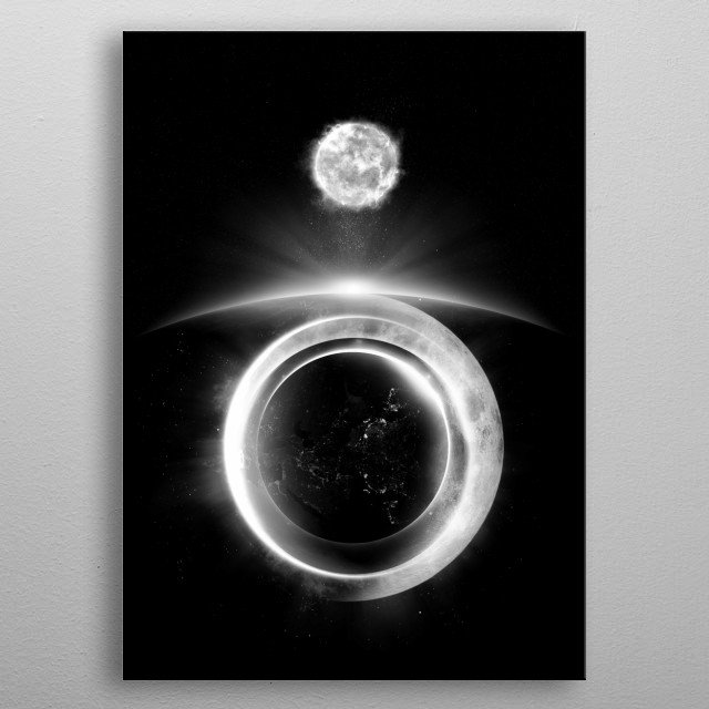 Various heavenly bodies lined up in a black and white fashion. metal poster