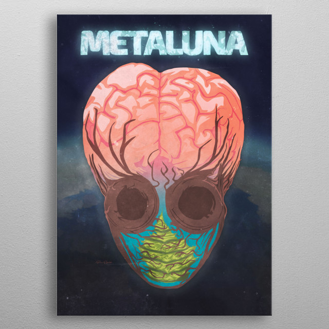 """Minimalist Face of the Mutant from 1955's """"This Island Earth"""". metal poster"""