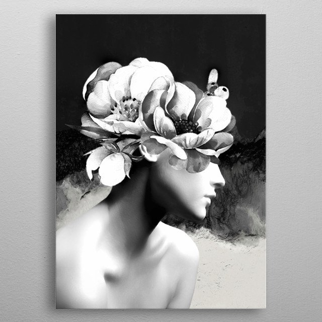 Floral Portrait-black and white  metal poster