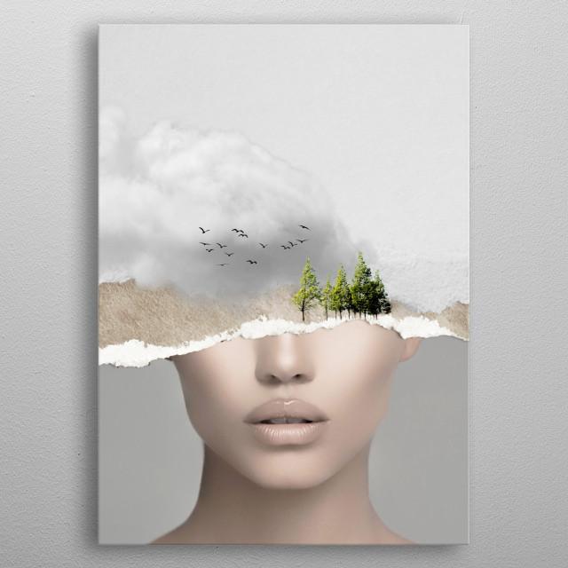 minimal collage silence2 metal poster