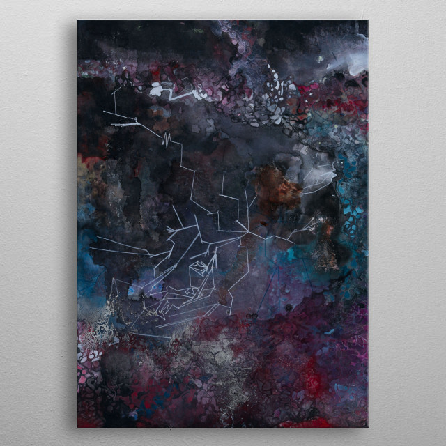 Cosmic Roots and Quantum Tunnels metal poster