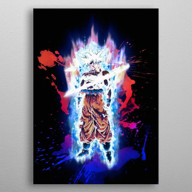 Goku super saiyan god metal poster
