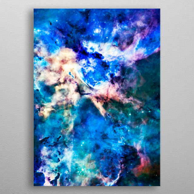 Digitally painted image of a space nebula. metal poster