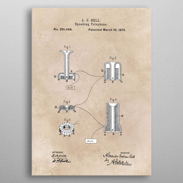 patent Bell Speaking telephone 1878 metal poster