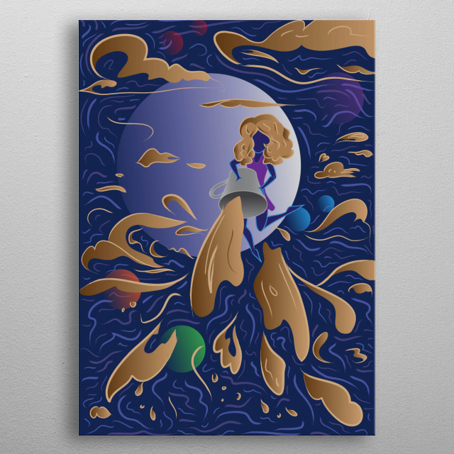 Illustration of a girl in space pouring out coffee in the formation of clouds metal poster
