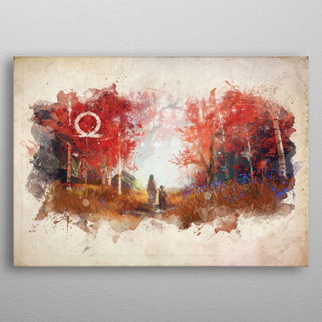 Watercolor/abstract design of various popular locales both fictional and real. metal poster