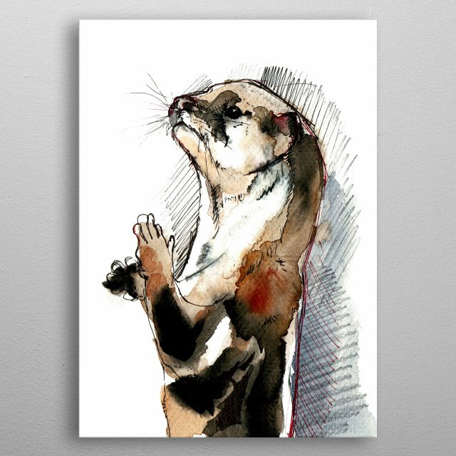 Watercolor and ink mixed media painting. Asian small-clawed otter (Amblonyx cinerea) metal poster