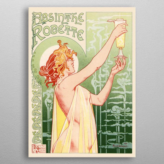 vintage advertising - absinthe robette metal poster