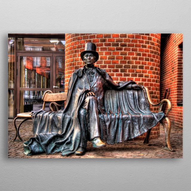 Hans Christian Andersen statue  , location Denmark, Odense,  Hans Christian Andersen sitting on a bench.  sculpture  by: Jens Galschiøt  metal poster