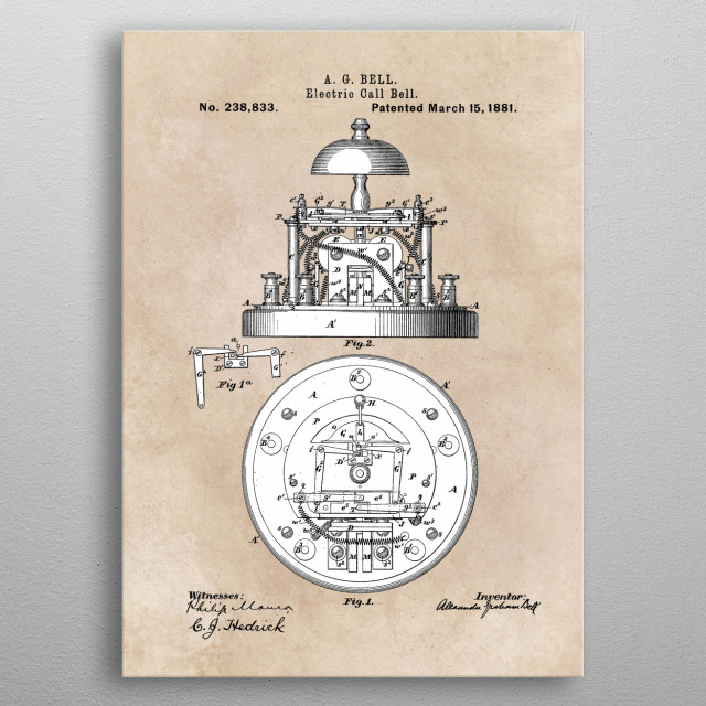 patent Bell Electric call bell 1881 metal poster