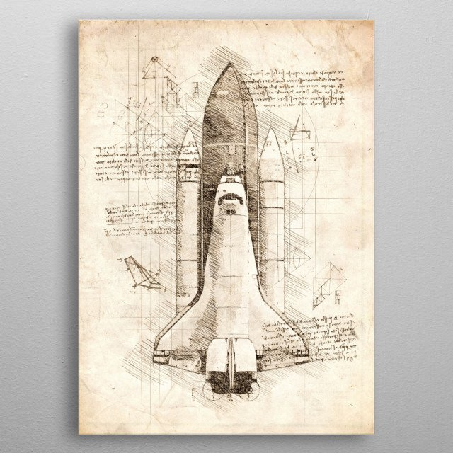 Sketch of the Space Shuttle metal poster