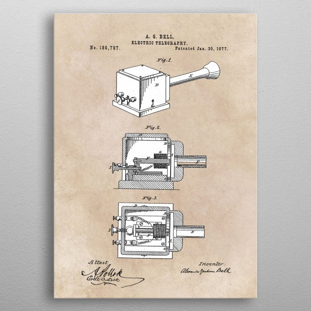 patent Bell Electric telegraphy 1877 metal poster