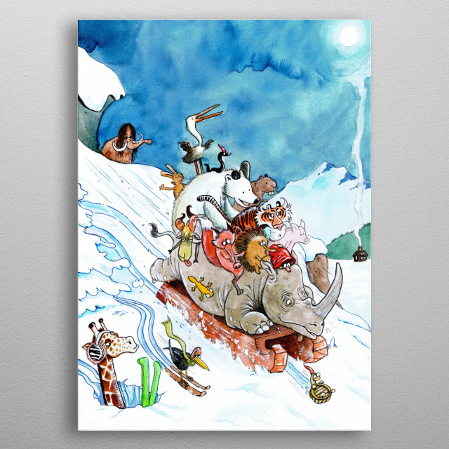 Animals playing in the snow.   Watercolors  metal poster