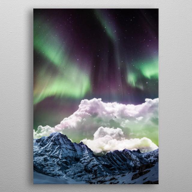 Aurora borealis metal poster