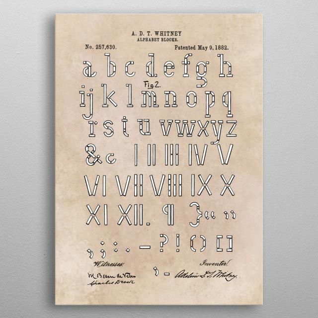 patent Whitney Alphabet blocks 2 1882 metal poster