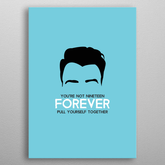 The Courteeners with Not Nineteen Forever lyrics on Cyan. metal poster