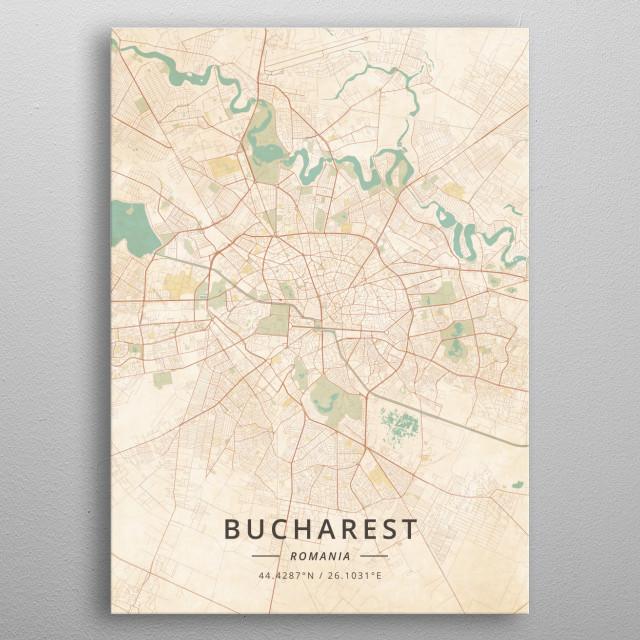 Bucharest Romania by Designer Map Art | metal posters - Displate