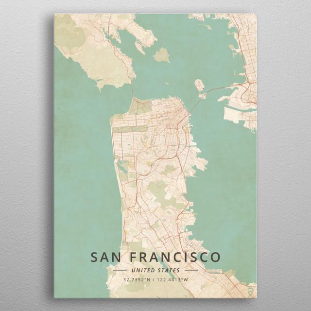 San Francisco, US metal poster