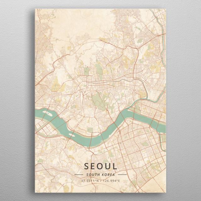 Seoul, South Korea metal poster