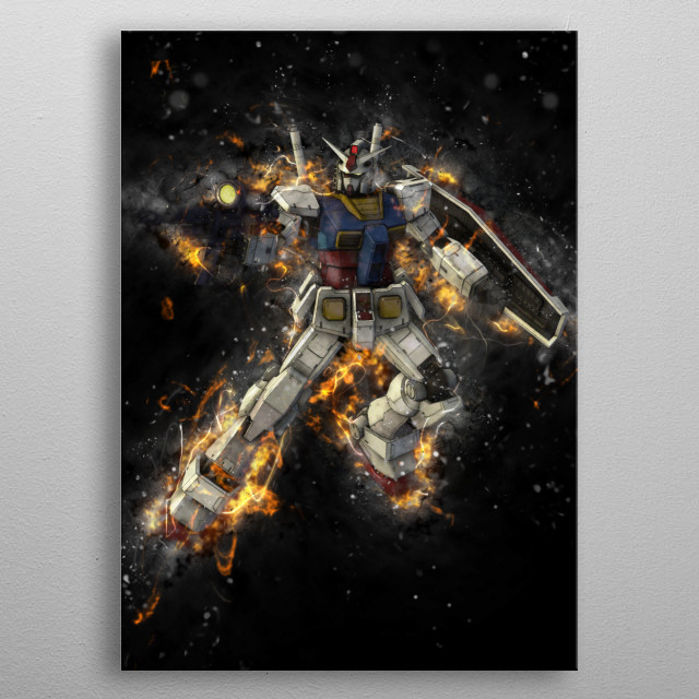 Stylized Gundams! metal poster