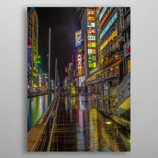 Osaka in the rain - Picture taken in Osaka Japan in 2018 metal poster