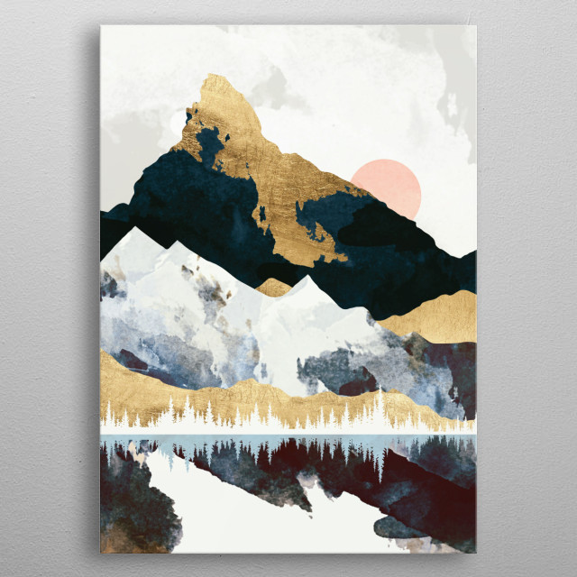 Abstract landscape scene of a winters day with blue, gold, mountains and water metal poster