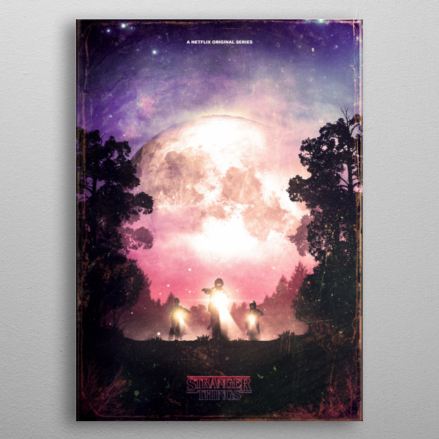3 boys looking for their missing friend. Set against a deep forest back drop and the moon shining.  metal poster