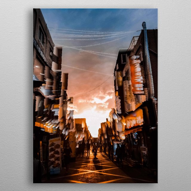 Picture was taken at Seoul, South Korea. Showing an abstract busting sunset. metal poster