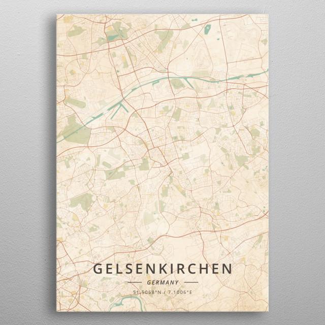 Gelsenkirchen Germany Map.Gelsenkirchen Germany By Designermap Art Metal Posters Displate