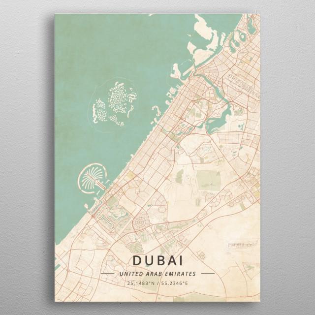 Dubai, UAE metal poster