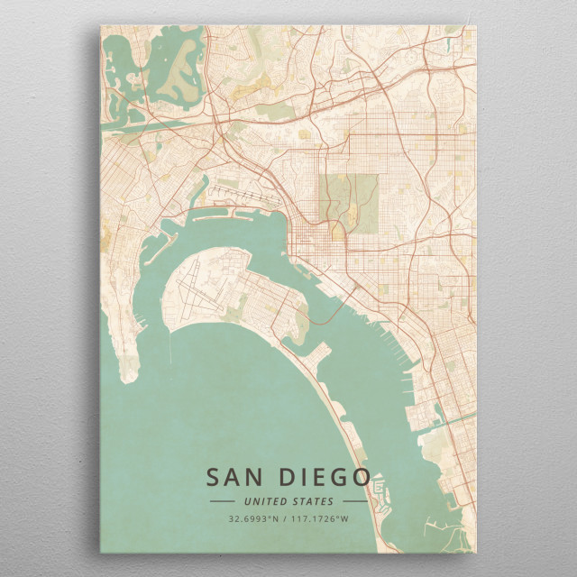 San Diego United States Maps Poster Print | metal posters ...