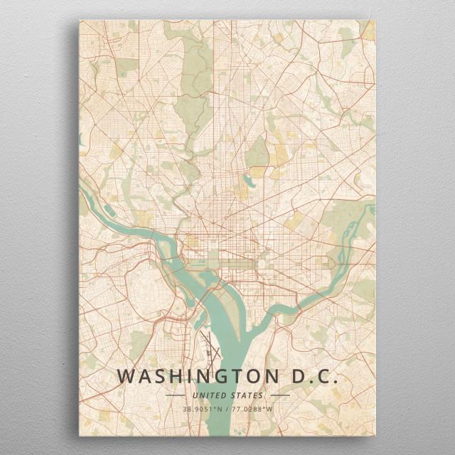 Washington DC US Maps Poster Print | metal posters - Displate