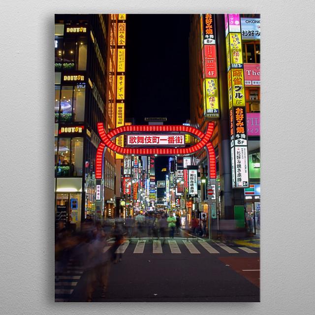 Shinjukus Kabukicho gate metal poster