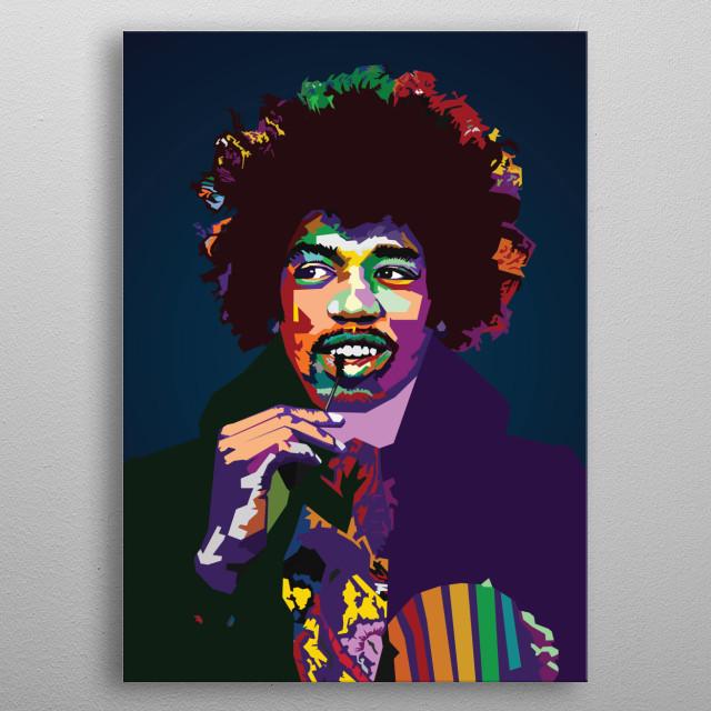 Jimi Hendrix WPAP Pop Art metal poster
