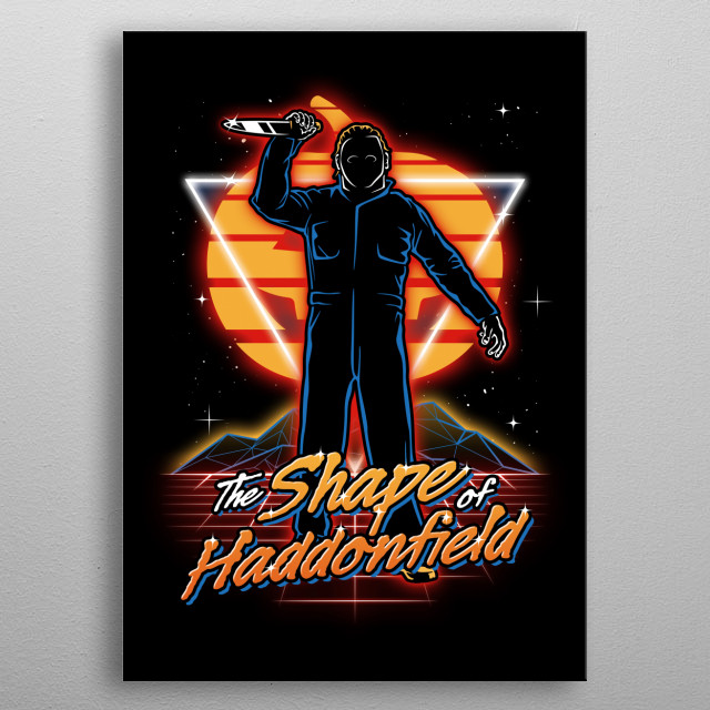 The Shape of Haddonfield retro style from the 80s. metal poster