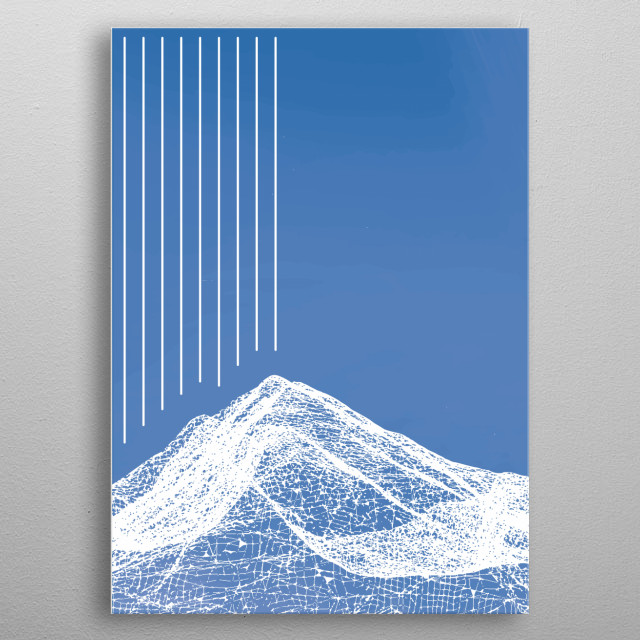 An Abstract art piece of a mountain in rain. Line art generated from an stl, of a mountain range and shown as a line vector image. metal poster