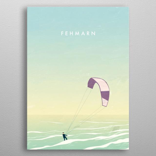 Illustration of a kitesurfer on Fehmarn metal poster