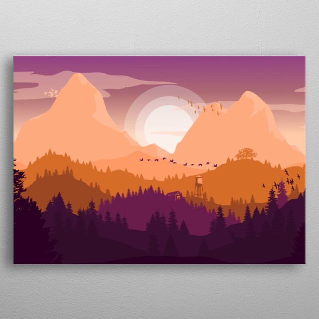 Simple illustration of mountain landscape during sunset. metal poster