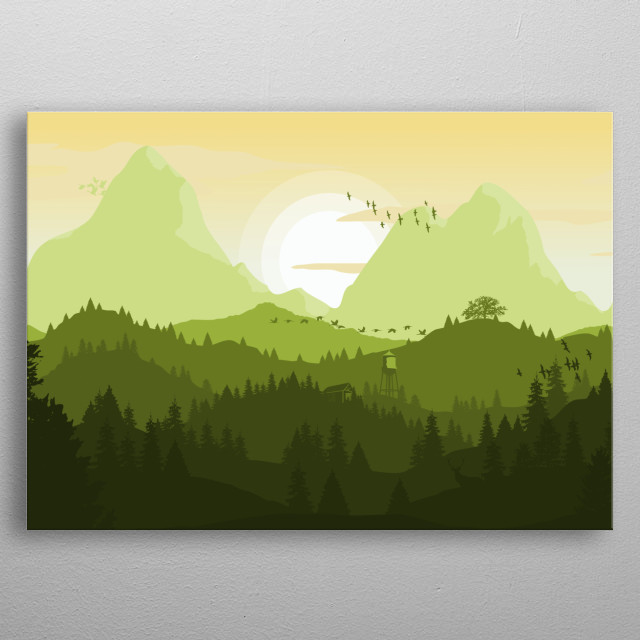 Simple landscape of green mountains. metal poster