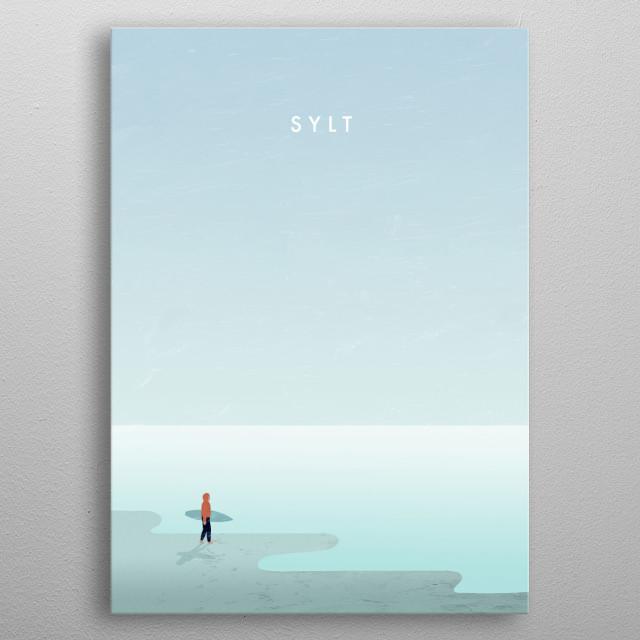 Illustration of a surfer on Sylt metal poster
