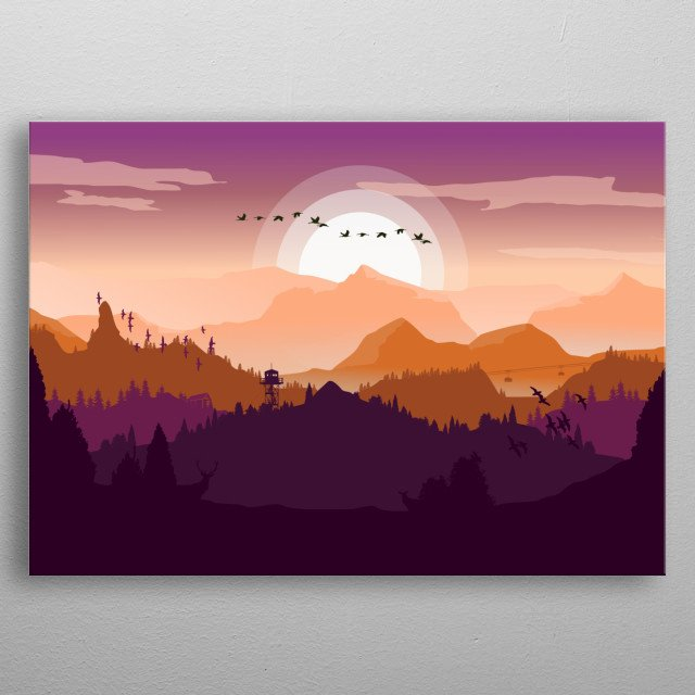 Simple landscape of misty mountains during sunset. metal poster