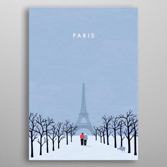 Illustration of Paris metal poster